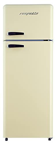 respekta Frigorífico retro, combinación de nevera y congelador, 146 kg, color crema, brillante, A++
