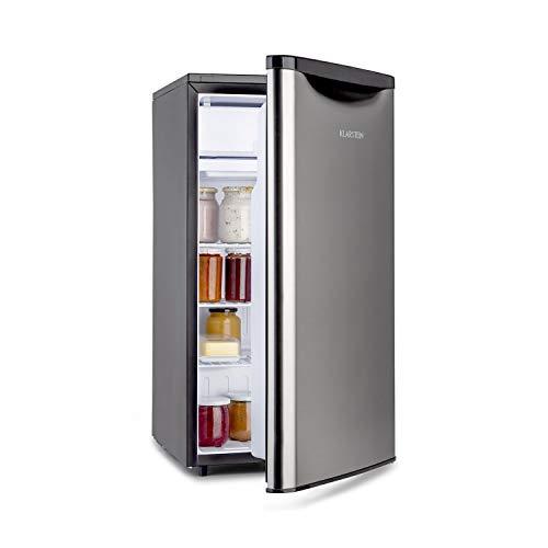 Klarstein Yummy - Nevera, Descongelación semi-automática, EEC A+, Nivel ruido 41 dB, Congelador hasta -3 °C, Revestimiento cromado, 45 x 85 x 48 cm, Capacidad de 90 Litros, Plateado