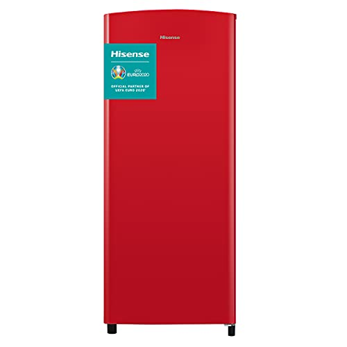 Hisense RR220D4ARF - Frigorífico Una Puerta, Botellero Cromado, estantes XXL, 164 L de capacidad neta, 128 cm alto, silencioso 40 dBA, Color Rojo