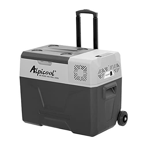 Alpicool CX40 - Nevera portátil de 40 litros, 12V, para coche, camping, camión, barco y enchufe con conexión USB, barra telescópica, rueda