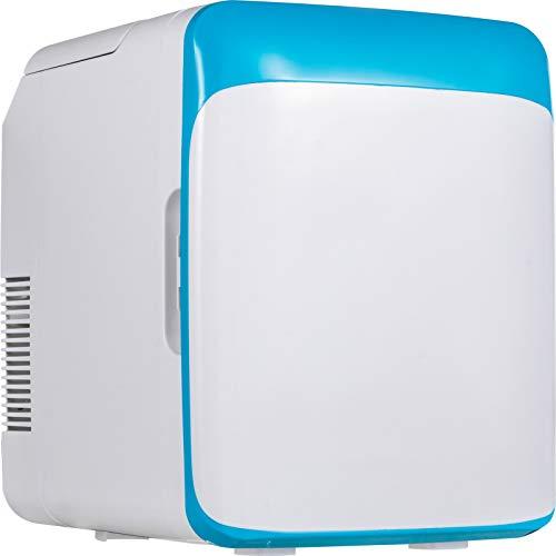 VEVOR Mini Nevera Pequeña Portátil 10 L 220 V/12 V 48 W Mini Refrigerador Mini-Frigorífico Portátil Azul con Función de Frío y Calor para Maquillaje Cuidado la Piel Material ABS Coche