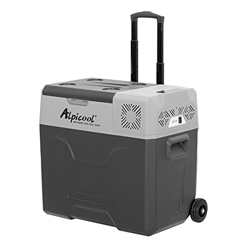 Alpicool Nevera portátil CX50 de 50 litros, 12 V, nevera portátil para coche, camping, camión, barco y enchufe con conexión USB, barra telescópica, rueda