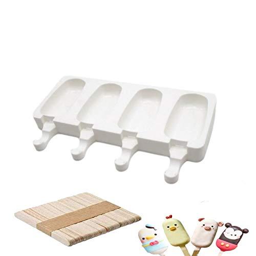 Chang Molde de silicona para helados, molde para helados, palitos de hielo, bandeja para postres congelados, bandeja para utensilios de cocina, sartén + 50 palos de madera (tamaño grande)