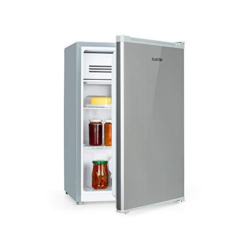 Klarstein Delaware nevera - 76 litros de capacidad, eficiencie energética de clase A++, 2 baldas, congelador de 4 litros, compartimento para botellas de hasta 2 litros, plateado/gris