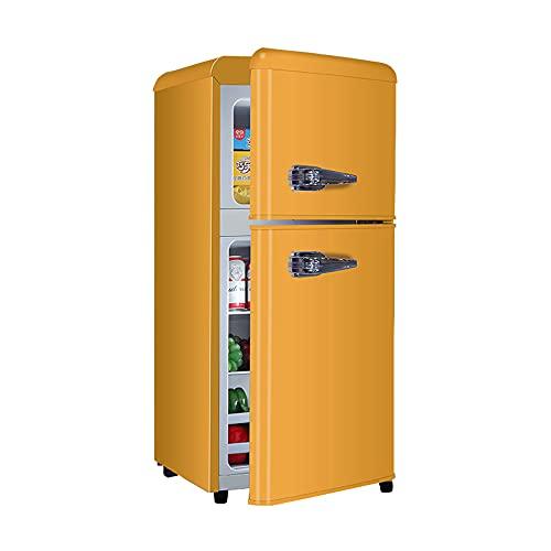 ZR Refrigerador Retro Europeo, Refrigerador De Doble Puerta para Refrigeración Y Congelación, Ahorro De Energía, Mini Congelador, Dormitorio, Oficina, Hogar, Amarillo 40x45x90cm