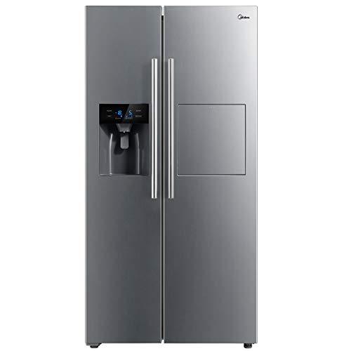 Midea KS-FIX 6.13 EX nevera lateral/A+/178,8 cm / 409 kWh/año/334 L/congelador de 156 L/sin escarcha/con compartimento para barras/dispensador de agua/hielo con conexión de agua fija