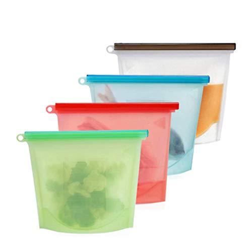 SOOJET Bolsa Reutilizable de Silicona para Alimentos, Bolsas para Alimentos reciclables,Bolsa de Almacenamiento Preservación de Alimento para Fruta, Verduras, Carne - Juego de 4 (1L)