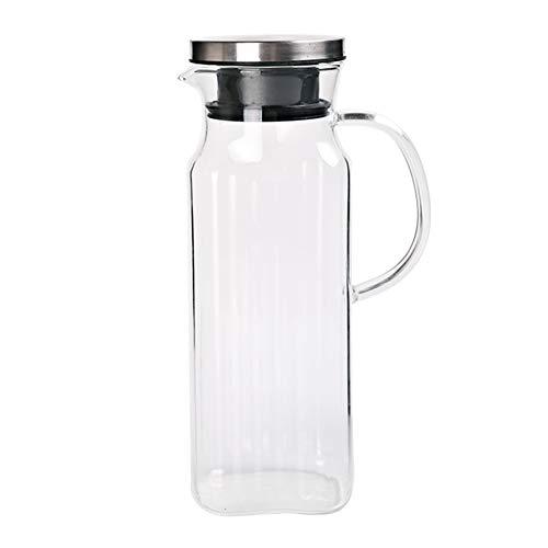 Jarra de agua con tapa de 1000 ml – Jarra de cristal jarra de agua para zumo de té helado y café caliente, apta para nevera y estufa