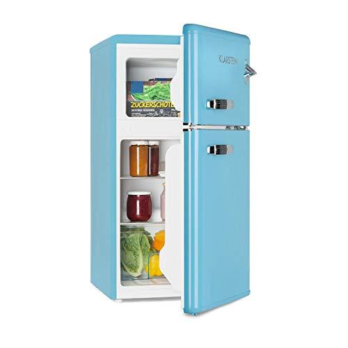 Klarstein Irene - Frigorífico combi, Volumen 61 Litros, Congelador 24 Litros, Refrigeración regulable 0-10 °C, 2 estantes, Cajón para verduras, 2 compartimentos en la puerta, Altura regulable, Azul
