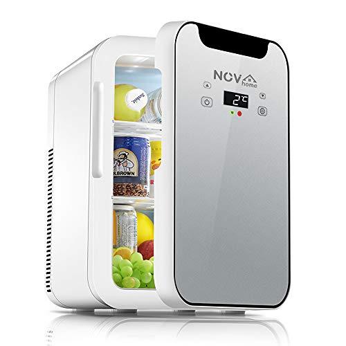 Novhome Mini Nevera 20 litros portatil Silencioso ligero con Calentamiento Frigorífico pequeña AC/DC 12V 75W Pantalla digital Minibar Congelador para Oficina Car Cámping (Gris, 27x35x41cm)