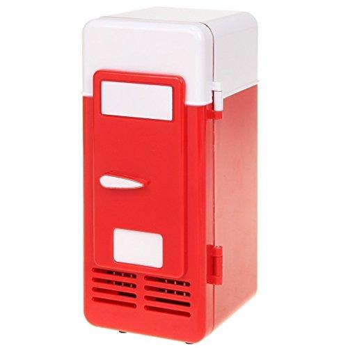 ThreeH Mini refrigerador del USB Refrigerador Bebidas Latas Refrigerador más frío/Caliente para el hogar y la Oficina UF05,Red