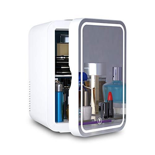 Mini nevera portátil de 8 litros AC/DC refrigerador termoeléctrico y calentador para el cuidado de la piel, recámara y viaje (diseño de espejo y LED)