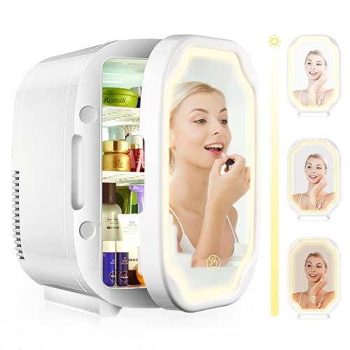 EZGETOP Mini Nevera 8 Litros 12V/220V Espejo de Maquillaje para Cosméticos (White)