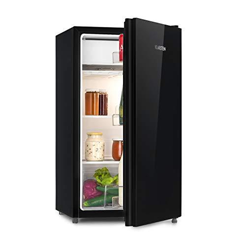 Klarstein Luminance Frost nevera - Mininevera, Volumen 91 litros, Eficiencia de tipo A+, Cajón para verdura, 2 baldas de vidrio, 3 compartimentos en la puerta, 7 niveles de temperatura, Negro