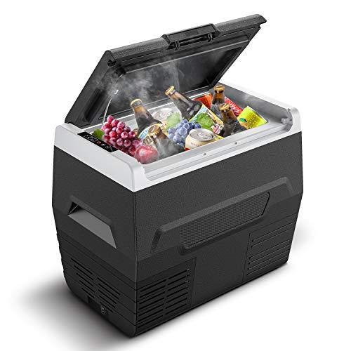 CALMDO 35L Nevera Portátil Eléctrica con Compresor, Mini Refrigerador de Coche con Pantalla LED, 12/24/220 V con Cable de CA y CC para Camping, Viajes, Picnic, Automóvil