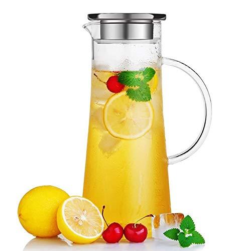 susteas Jarra de Vidrio de 1,5 litros con Tapa Jarra de té Helado Jarra de Agua Agua fría fría Hielo Té Vino Café Leche y Jugo Bebida Jarra