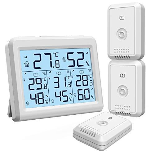 ORIA Termómetro Higrómetro Interior Exterior, Medidor Temperatura y Humedad con 3 Sensor Remotos, Digital Termohigrómetro Inalámbrica con Retroiluminación & Nivel de Comodidad, Min/Max Registro