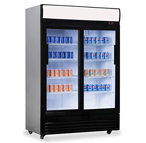 Frigorífico con puerta de cristal con 1000l de capacidad, frigorífico de bebidas para negocios, 1200x 730x 2036mm