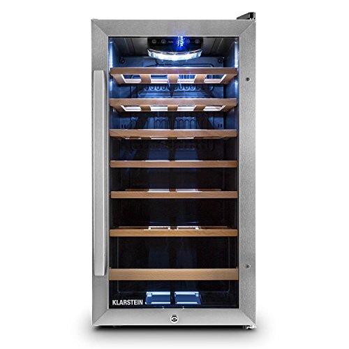 Klarstein Vivo Vino 26 Vinoteca - Nevera para bebidas, 26 botellas, 88 L, LED, control temperatura, Bisagra Intercambiable, Puerta ambos lados, acero inox, negro