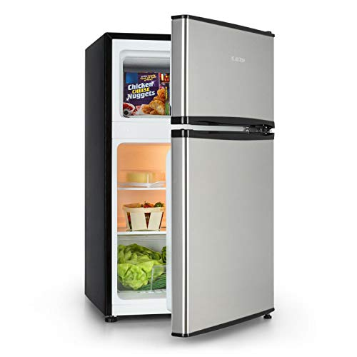 Klarstein Big Daddy Cool – combinación nevera-congelador, Congelador encima, silencioso, eficiencia energética Fe clase F, 90 L de capacidad, nevera de 65 L, congelador de 25 L, negro
