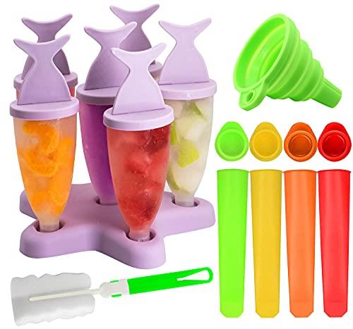 Gyvazla Moldes Helados, Reutilizable Popsicle Moldes, 6 Fabricantes Paletas De Hielo, 4 Moldes de Silicona para Helado, Cepillo de Limpieza, Embudo Plegable, para Niños y Familia DIY