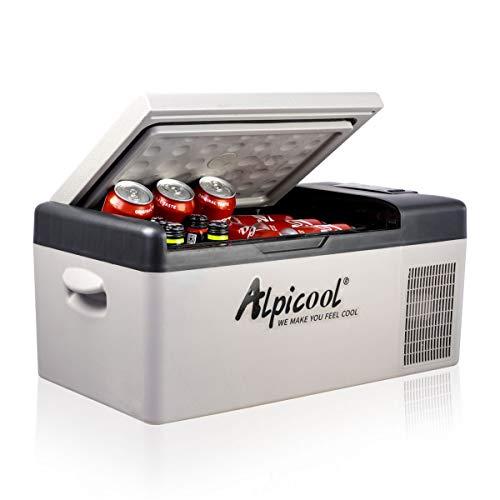 Alpicool C15 15 litros Mini Nevera de Coche portátil Eléctrica 12/24V CC Refrigerador de Coche para Hogar Aire Libre Camping, Viajes, Automóvil Enfriamiento de -20ºC a 20ºC