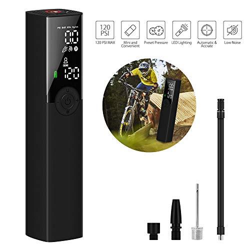 VEEAPE Compresor de Aire Portátil Mini Bomba de Inflado Eléctrica con Indicador de Presión LCD Digital de 120PSI 1200mAh Batería de Litio,para automóviles Motocicletas y Todas Las Bicicletas