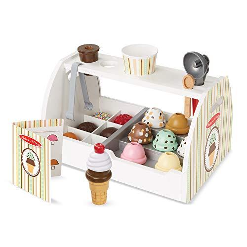 Melissa & Doug - Set de 28 piezas de madera para preparar helados, Wooden Ice Cream Counter (19286) , color/modelo surtido