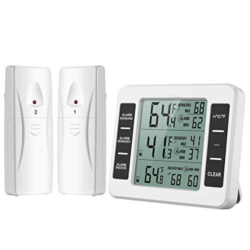 ORIA Termómetro Digital del Refrigerador, Termómetro Inalámbrico para Nevera con 2 Sensores, Termometro Congelador para Interior y Exterior con Pantalla LCD y Audible de la Alarma, Registro MAX/Min
