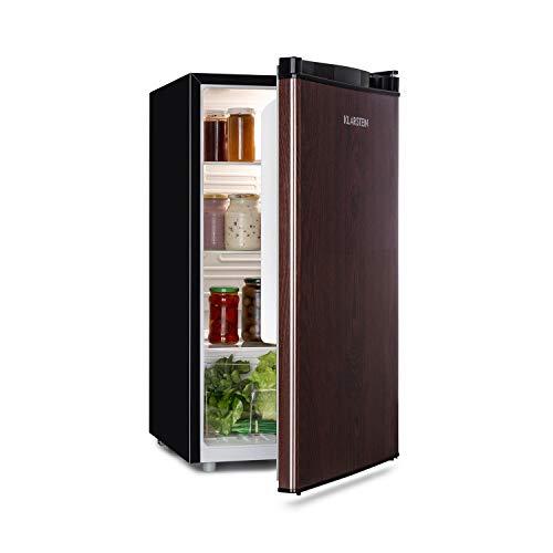 Klarstein Feldberg Nevera, Eficiencia energética clase A+, Volumen: 90 litros, Concepto MirageCool: Puerta con diseño externo de madera, compartimento de enfriado, Emisión de sonido: 42 DB, negra