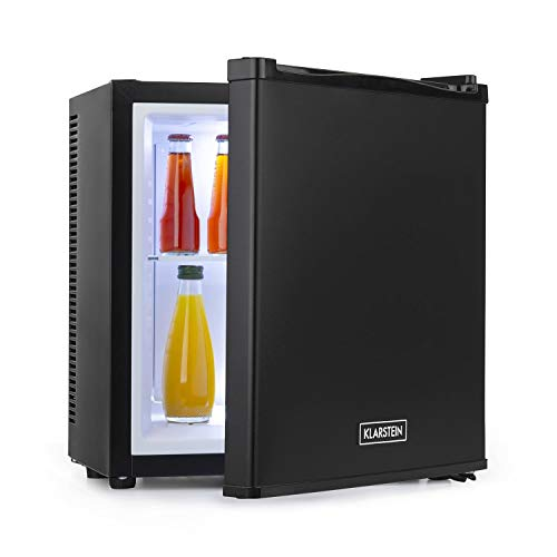 Klarstein Secret Cool - Mini Nevera, Volúmen de 13 litros, Ruido de 0 dB, Rango de frío de 5-8 °C, Potencia 58 W, Sistema termoeléctrico, Iluminación interior, Estante de cristal extraíble, Negro