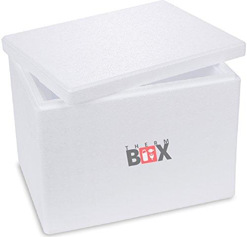 THERM-BOX Caja térmica de espuma de poliestireno - Caja térmica para alimentos y bebidas - Enfriador y calentador de espuma de poliestireno (40x30x30cm - 19,58l volumen) Reutilizable