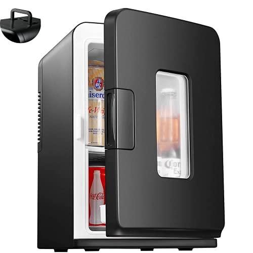 Mini Nevera Pequeña Portatil de 12V / 220V, Frigorifico 15L con Función de Frío/Calor, Nevera Maquillaje Eléctrico Silencioso con Mode ECO y Estante Desmontable, para Habitación, Coche, Oficina