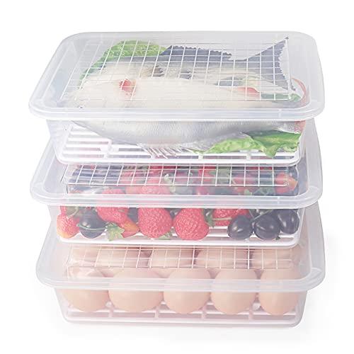 77L Recipiente de Almacenamiento de Alimentos, (Paquete de 3) Recipientes de Plástico para Alimentos con Plato de Drenaje Extraíble y Tapa, Portátiles Apilables,Bandeja para Guardar Frutas,Carne y Más