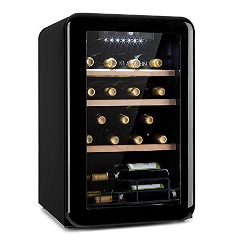Klarstein Vinetage Uno - Nevera para vinos, Temperaturas de 4 a 22 °C, Refrigeración por compresión, Iluminación LED, 2 estantes de madera, Panel de control, Capacidad 70 L, Hasta 19 botellas, Negro