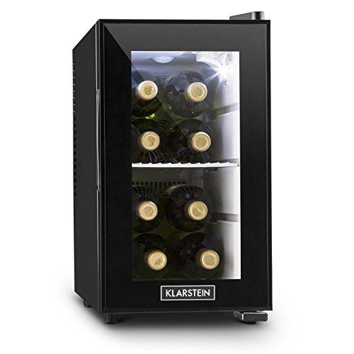 KLARSTEIN Beerlocker S - Mini-Nevera, Nevera para Bebidas, 21 litros, Doble Aislamiento, 1 Balda metálica extraíble, Luz Interior LED, Módulo Independiente, Muy silencioso, 70 W, Negro