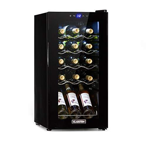 Klarstein Shiraz Slim Uno - Nevera para vinos, Eficiencia energética Ge Clase G, 5-18 °C, 42 dB, Panel táctil, Iluminación LED, Altura regulable, 4 baldas, 44 litros, Para 15 botellas de vino, Negro