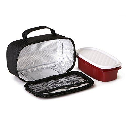 Tatay Urban Food Casual Mini Bolsa Térmica Porta Alimentos, 1.5L de Capacidad, con 1 Tupper Hermético de 0,5L de Plástico Libre de BPA, Color Negro. Medidas 21.5 x 9 x 12 cm