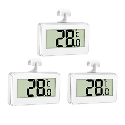 Thlevel 3 Piezas Termómetro para Frigorífico Termómetro para Congelador o Nevera Impermeable con Gancho, Pantalla LCD Fácil de Leer