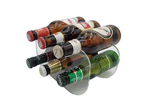 Laserplast Botellero Cervezas 250 ml. para frigorífico de metacrilato Transparente - Capacidad 6 Botellas 1/5 - Soporte botellines de Cerveza en acrílico plexiglass (1 Unidad)