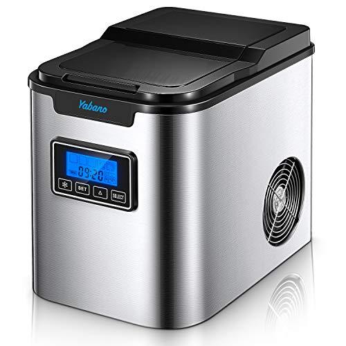 Yabano Ice Maker/MáquinaparaHacerHielo de 12 kg / 6-8 Minutos de Tiempo de Producción/Silencioso / 2L / 150 W / 2 Tamaños de Cubitos de Hielo/Acero Inoxidable/sin Conexión de Agua