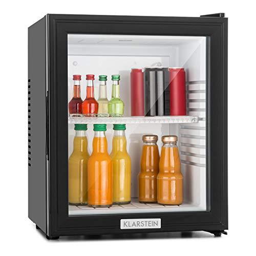 Klarstein MKS-12 Black Edition - Nevera Vinoteca, Minibar, Mininevera, Volumen 24 litros, clase de eficiencia energética A, Silencioso 0 dB, Bajo Consumo, Puerta Cristal, Negro