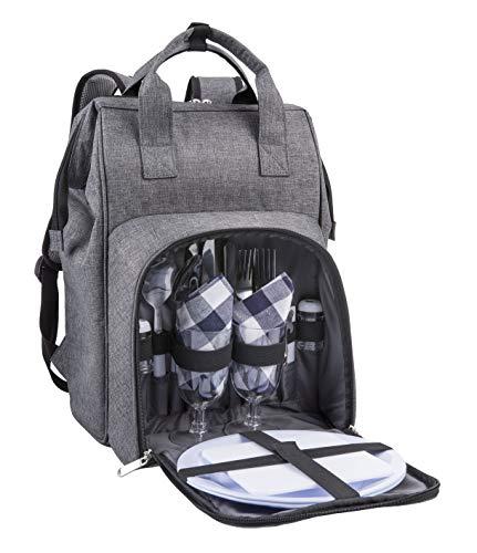 Eono by Amazon - Bolsa para refrigerador con mochila para picnic, 2 personas, juego de vajilla y manta