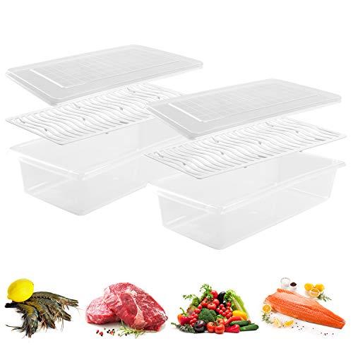 JRing Recipiente de Almacenamiento de Alimentos de plástico, contenedores apilables con Placa de Drenaje extraíble con Tapa, Mantener Fresco para almacenar Peces, Carne, Verduras y más Pequeño