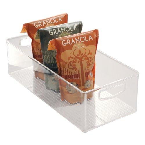 iDesign Caja transparente para el frigorífico, organizador de cocina grande y profundo de plástico, organizador de nevera con asas y sin tapa, transparente