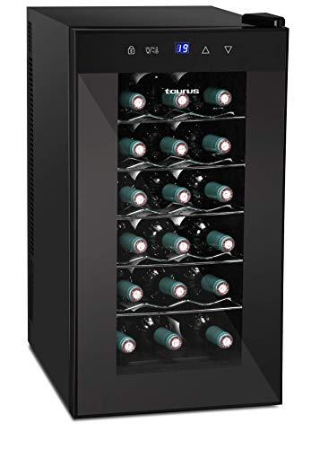 Taurus PTWC-18 Vinoteca de 18 botellas, temperatura regulable entre 12 y 18 C, Negro, 34.5 x 63 x 49.5 cm