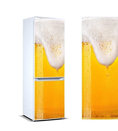 Oedim Vinilo para Frigorífico Cerveza Espumosa 185x60cm   Adhesivo Resistente y Económico   Pegatina Adhesiva Decorativa de Diseño Elegante