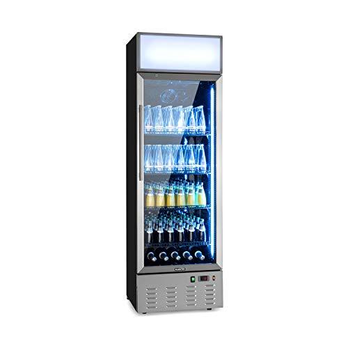Klarstein Berghain Pro nevera de bebidas - 278 litros, 60 x 189 x 58,5 cm, 2-8 °C, iluminación, se puede cerrar con llave, puerta acristalada, luces de colores, acero inoxidable, nevera de botellas