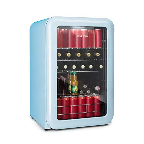 Klarstein Poplife Nevera de Bebidas - Nevera Retro, Mininevera, Puerta con Doble acristalado, Iluminación LED, Solo 39 dB, 0-10°C, 115 litros, Azul [Eficiencia Energética Clase A+]