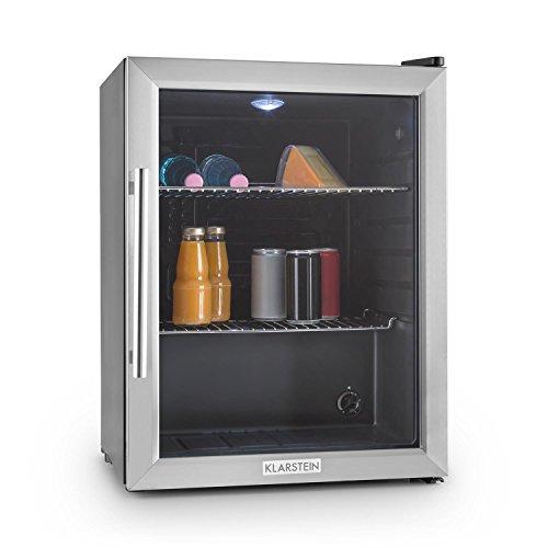 Klarstein Beersafe - Nevera con puerta acristalada, Mininevera, Minibar, Iluminación LED, Acero inoxidable, 5 niveles de frío, 42 dB, 2 rejillas metálicas extraíbles, A++, 60 litros, Negro